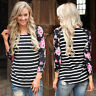 Womens Casual 3/4 Sleeve Tops Floral Printed Crew Neck Blouse Striped T-Shirts