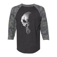 The Punisher Skull Vintage Camo Black Raglan 3/4 Sleeve Tee Graphic T-Shirt