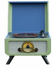 Steepletone Rico Retro Turntable Deck With CD Player Music System in Blue/green