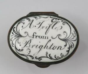 18C English George III Battersea Bilston Enamel Patch Box Trifle From Brighton