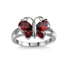 18 K White Gold Filled Red Sapphire Butterfly Ring Size 9