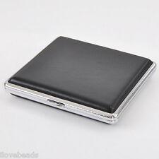 Black Copper Leather Cigarette Case Holder Box for 20 Cigarettes