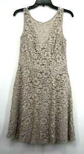 David's Bridal Womens Tan Floral Lace Scoop Neck V Back Zip Bridesmaid Dress 8