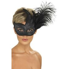 Womens Ornate Colombina Feather Eye Mask Fancy Dress Costume Masquerade Black