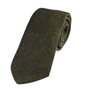 Men's Genuine Dark Green Wool Tweed Tie - Made in the UK (U120/18)