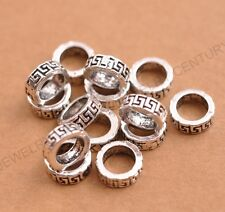 20/50/100Pcs Tibetan Silver Tube Big Hole Spacer Beads for Bracklet Jewelry