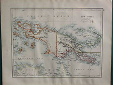 1900 VICTORIAN MAP ~ NEW GUINEA POSSESSIONS KAISER WILHELMS LAND BISMARCK
