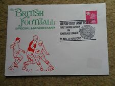 BRITISH FOOTBALL SPECIAL HANDSTAMP COVER HEREFORD FIRST HOME MATCH IN LEAGUE1972