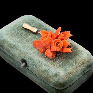 Antique Vintage Art Nouveau 18k Gold Carved Salmon Coral Floral Stick Pin Brooch