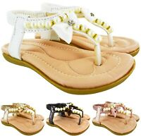 KIDS GIRLS CHILDRENS FLAT SUMMER BOW PEARLS SLINGBACK CAUSAL SANDALS SHOES SIZE