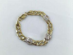 "9ct Yellow Gold Baby Children Boxing Glove Cubic Zirconia Bracelet 5.5"""