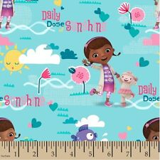 Disney Doc Mcstuffin Lt Blue/Dose of sunshine 100% cotton Fabric by the yard