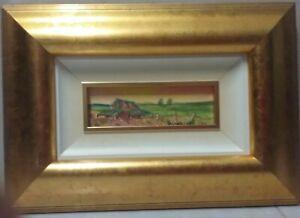 Framed miniature oil painting 'Green Acres' 6 x 17cm by Debra Lohrere