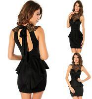 Sz S 8 10 Sexy Black w Lace Peplum Sleeveless Dance Party Cocktail Bodycon Dress