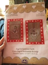 ANGEL AND SNOWMAN CARDS - COUNTED CROSS STITCH KITS - BK780 - 2 CARD KIT