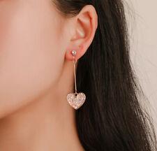 Women Long Drop Earring Crystal Love Heart Shaped Geometric Dangle Earrings