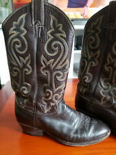 Vintage JUSTIN Cowboy Boots Brown Leather Size 8 D Style No. 1454 Made in USA