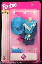 Barbie Easy Dress Western Fashions Blue Cowboy Hat Boots NRFB