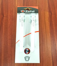 WHITE ZEFAL CHRISTOPHE BICYCLE TOE CLIP STRAPS WHITE LEATHER PAIR