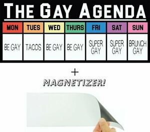 The Gay Agenda LGBTQ 4x10 Funny Novelty Bumper Sticker with Magnetizer