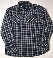 Lucky Brand Boys Shirt Navy Blue White Size XL Plaid Button Up Long Sleeve