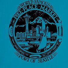 Pike Place Market Port of Seattle Blue T-shirt Size XL 100% Cotton Space Needle