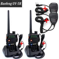 2X BAOFENG UV-5R Dual Band UHF/VHF Two Way Ham FM Radio+Speaker Walkie Talkie XG