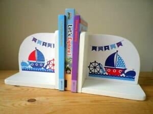 NEW Hand made wooden BOOKENDS Child's Room / Nursery / YACHT / Nautical