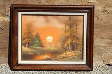 """Vintage Oil Painting on Canvas """"Sunset in The Forrest"""" Solid Wood Frame,Signed"""