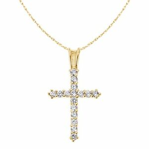 14k Solid Yellow Gold Cubic Zirconia Cross Pendant Chain Necklace 16 Inches