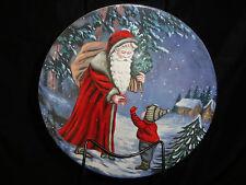 "Father Christmas Plates 8"" Set of 3 Evening Scene With Metal Wall Display Rack"