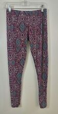 Pink Rose Juniors Medium Leggings Floral Pink Paisley Fun Print Medium M