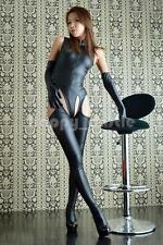 Sexy Women Lingerie PVC Wet Look Catsuit Bodysuit Crotchless Leggings Glovers