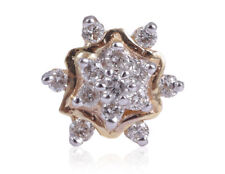 Nose Stud In Solid Certified 18K Gold Pave 0.15 Cts Round Brilliant Cut Diamonds