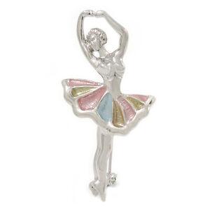 Klassische pastell Farbe Emaille Ballerina Brosche in Rhodium Plattiert Metall - 45mm L