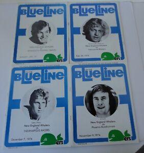 4 Vtg 1974 1975 Blue Line New England Whalers Program Magazine WHA Ice Hockey