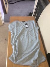 LOVELY NEW LOOK GREY MARL RUCHED SIDE MATERNITY T SHIRT TOP SIZE 12