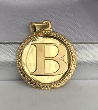 18k Solid Yellow Gold Letter Initial B Round Charm Pendant, 2.65 Grams