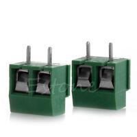 2pcs 300V 10A 2P Male PCB Screw Terminal Block Connector 5mm Pitch Green