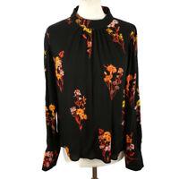 NEW £32 Warehouse Size 12 Black Orange Long Sleeve Floral Top Blouse High Neck