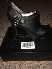 "Collin Stuart Black Leather Ankle Boots W/zip Up Back 3"" Heels N.I.B."