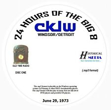 "AIRCHECK CKLW, Windsor/Detroit - ""24 Hours Of The Big 8"" -  6/29/73 On 2 MP3 CDs"