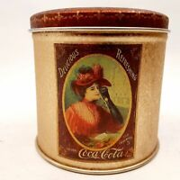 Coca-Cola Collectible Tin Old Fashioned Lady Red & Gold Decorative Coke Canister
