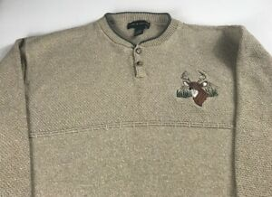 Croft & Barrow Deer Sweater VTG Mens Large USA Made Knit Outdoors Trees Pullover