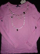 NWT Gap Kids 14-16 XXL Necklace Embellished Pink Long Sleeve T-shirt