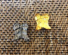 Angels Watching Over You 2 Angel Wings Pins 1 Pewter & 1 Plated Gold New.