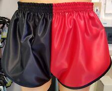 Nailon Satén Sprinter Pantalones Cortos Dos Tonos Rojo / Negro con Detalle,