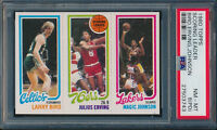 1980 TOPPS SCORING LEADER LARRY BIRD JULIUS ERVING MAGIC JOHNSON PSA 8(PD) #3743