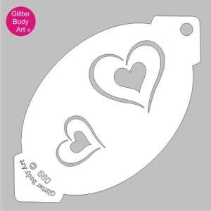 Heart Stencil Template 099 - Kids Unicorn Party, Reuseable Face Paint Stencil