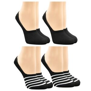 4 Pairs of Hanes No Show Liner Socks for Women, Womens Shoe Liners